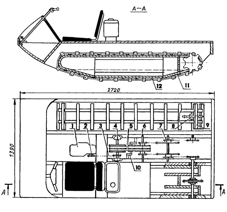 Трансмиссия лодки-снегохода