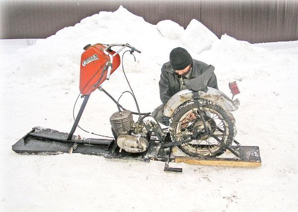 Самодельный снегоход из мотоцикла