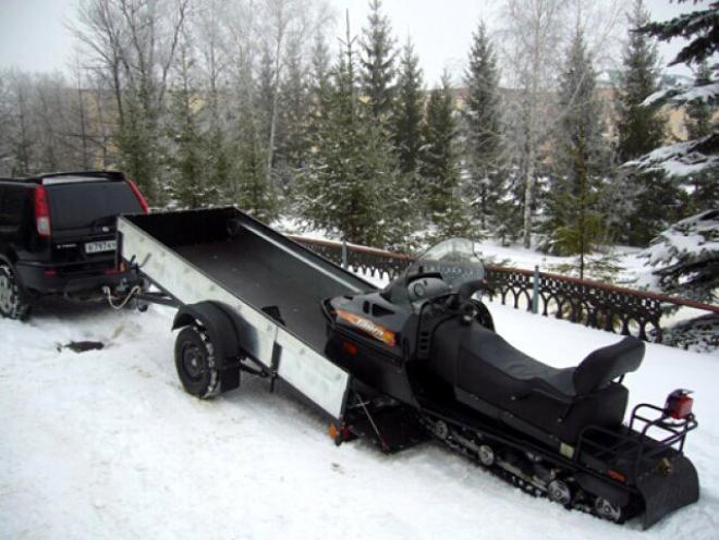 Открытый прицеп для перевозки снегохода
