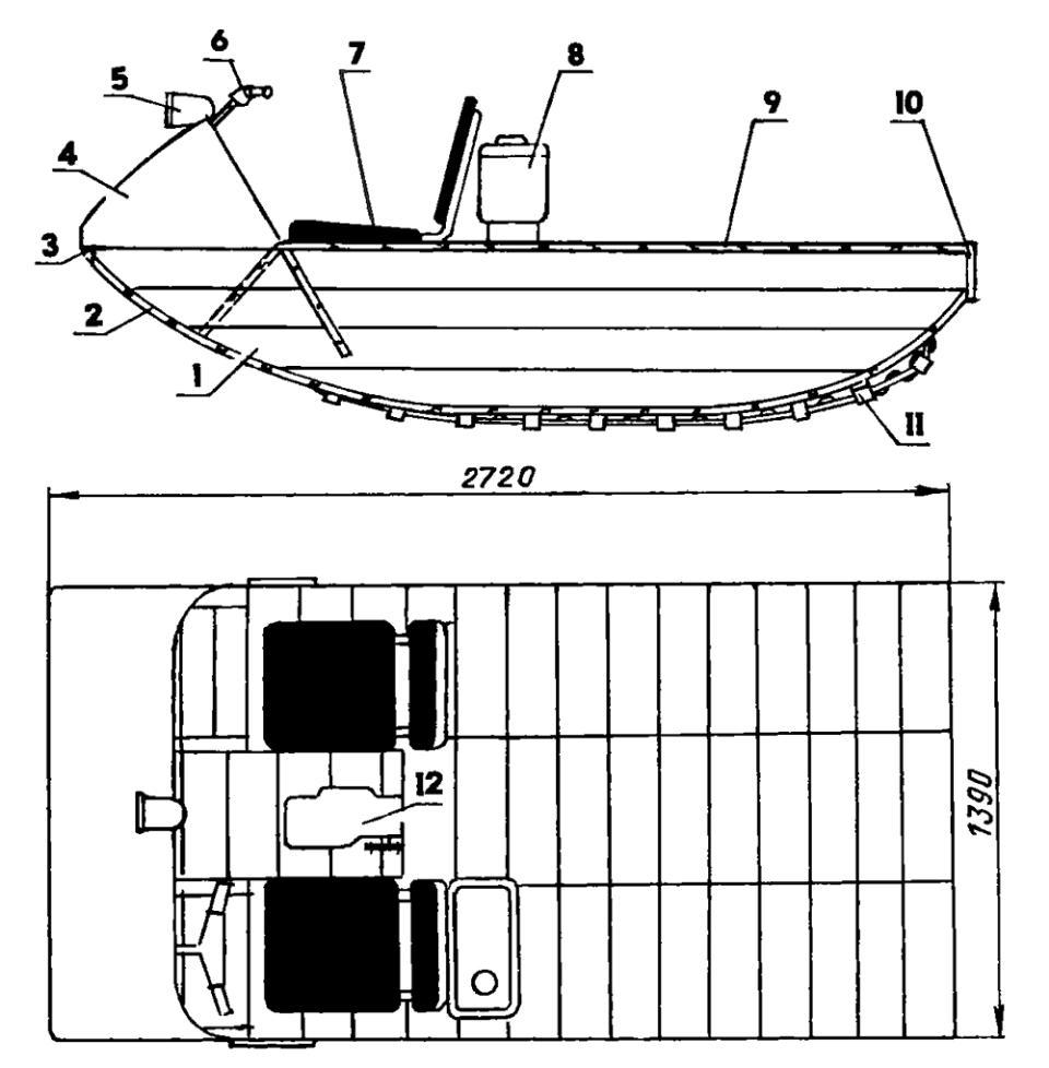 Гусеничный лодка-снегоход с двигателем от мотороллера «Вятка-Электрон»