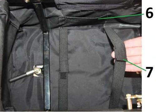 в багажном отсеке предусмотрен карман для документов (6) и регулируемые эластичные ремни-резинки (7) для крепления груза в багажном отсеке